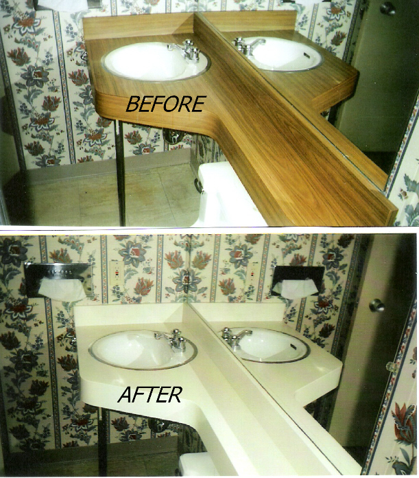 How To Refinish A Bathroom Countertop: Refinished & Repaired Countertops